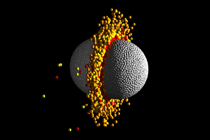 Simulation of a collision between two exoplanets