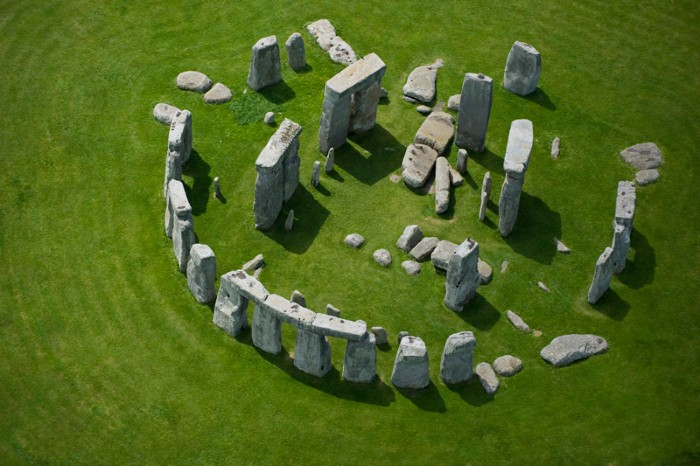 An aerial view of Stonehenge, a prehistoric monument of large stones arranged in a ring