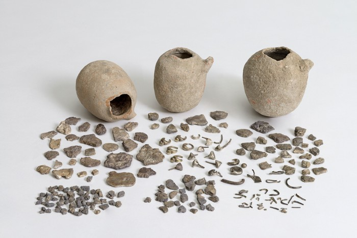 The Ein Hofez silver hoard, made up of three pots with many fragments of silver