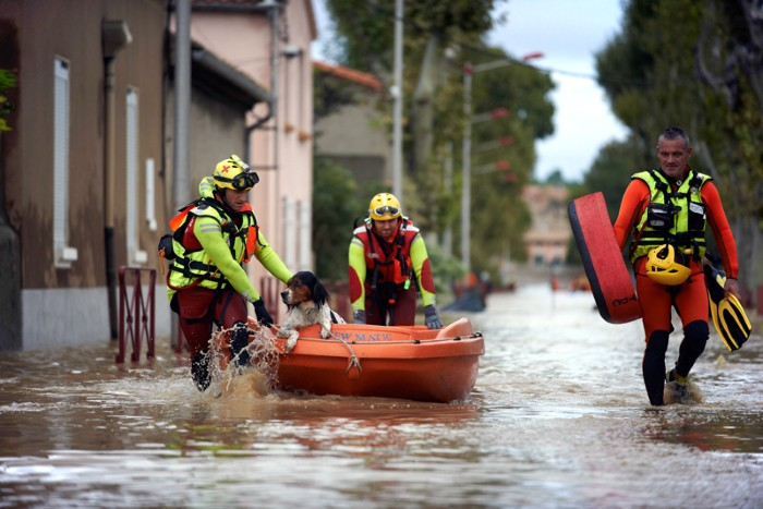 Rescue workers push a dog in a boat through flood waters in Carcassonne, France