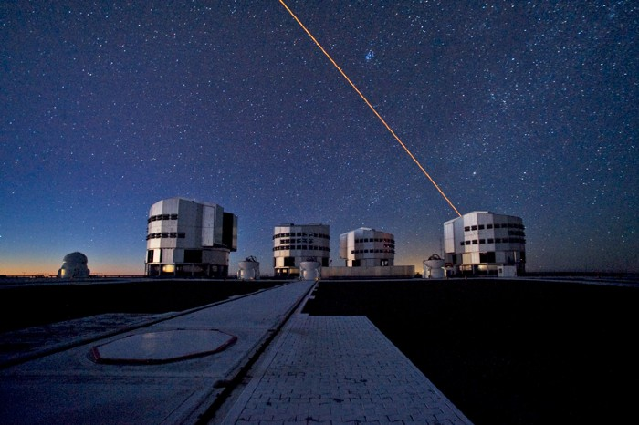 The ESO Very Large Telescope at twilight, made up of four Unit Telescopes and four Auxiliary Telescopes