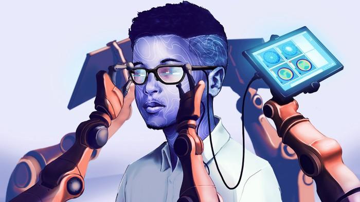 Imagen artística que muestra a una persona con gafas rodeadas de brazos robóticos