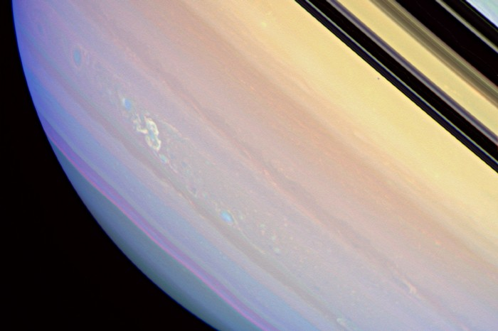 Image of a storm in Saturn's atmosphere captured by the Cassini spacecraft wide-angle camera on March 4, 2008.