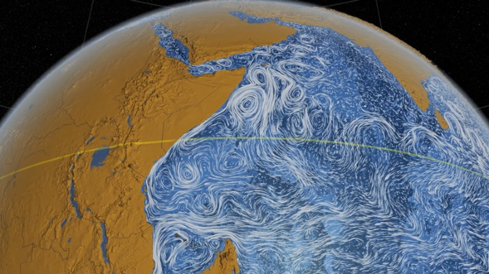 Visualization of ocean surface currents off the east coast of Africa