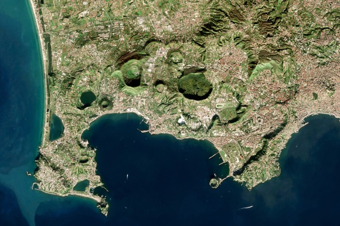 Satellite view of Campi Flegrei, a supervolcano located mostly under the Gulf of Pozzuoli west of Naples, Italy