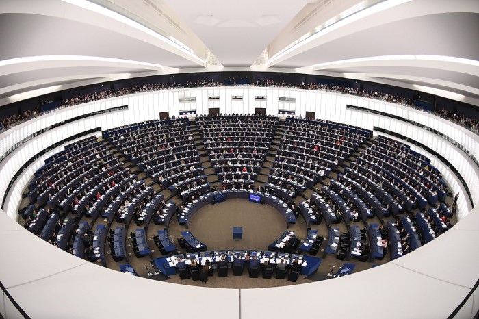 Members of the European Parliament take part in a voting session.