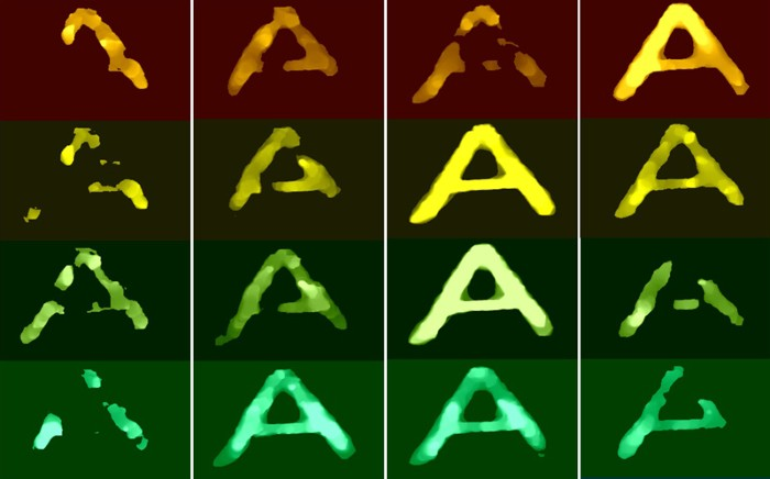 Images of the letter A written in dye, acquired at distinct wavelengths and different time delays