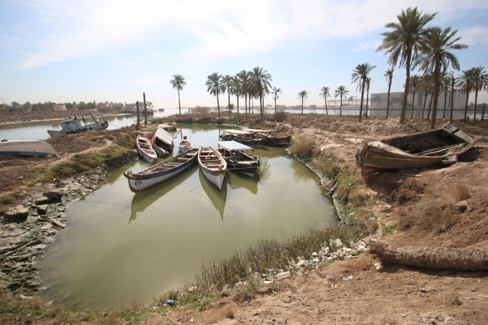 Fishing boats moored in the Shatt al-Arab water way near Basrah, Iraq