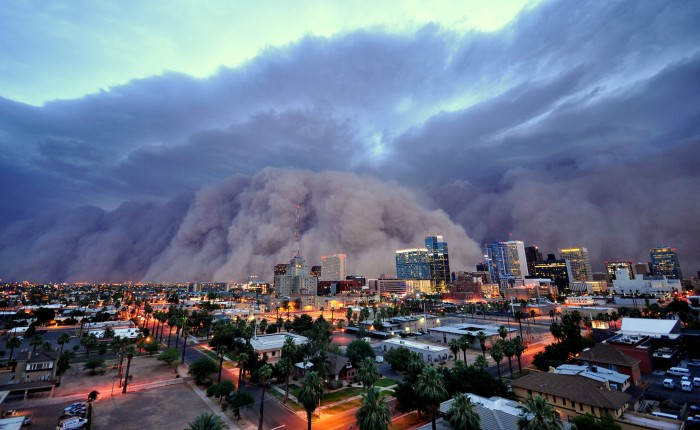 A wall of dust approaches downtown Phoenix