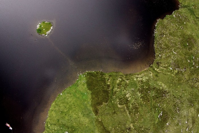 Aerial view of the Neolithic crannog at Loch Bhorgastail, Isle of Lewis, Outer Hebrides.