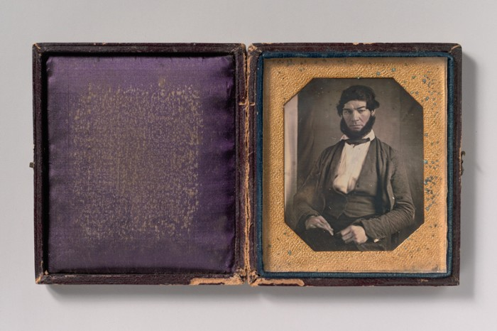 Daguerreotype in case of man with chic curtain beard, 1840s.
