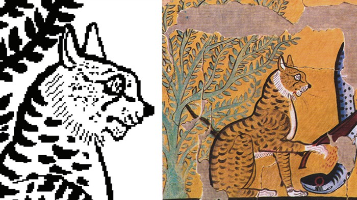 Composite image of Cat image stored in metabolites and original artwork of Cat Killing a Serpent