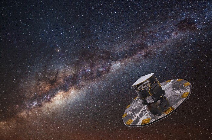 Artist's impression of the Gaia spacecraft, with the Milky Way in the background