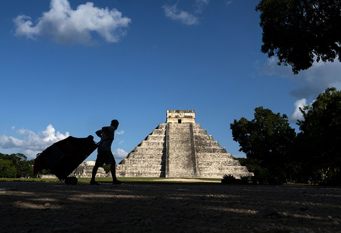 A general view of the El Castillo pyramid on September 30, 2018 in Chichen Itza, Mexico