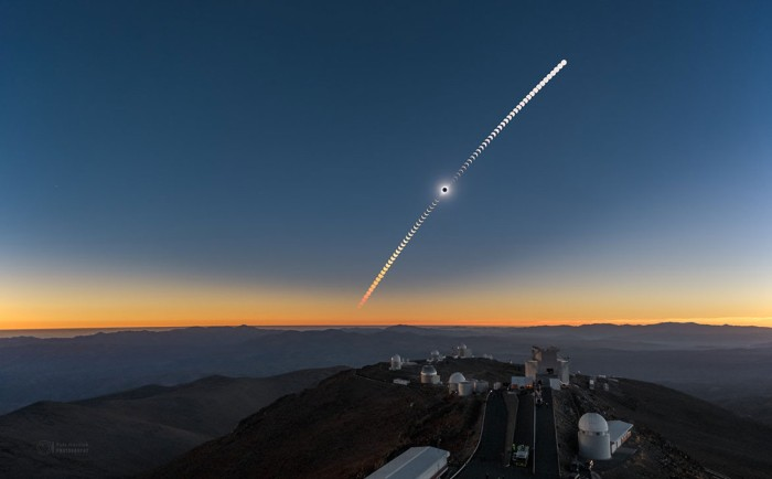 Composite image of the July 2nd solar eclipse seen above the La Silla Observatory