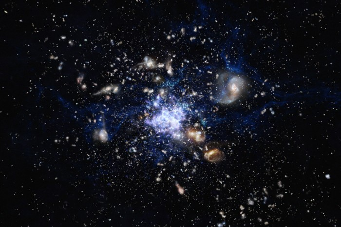 An artist's impression depicting the formation of a galaxy cluster in the early Universe