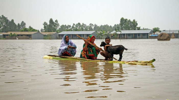Bangladeshi flood victims in Gaibandha on August 16, 2017.