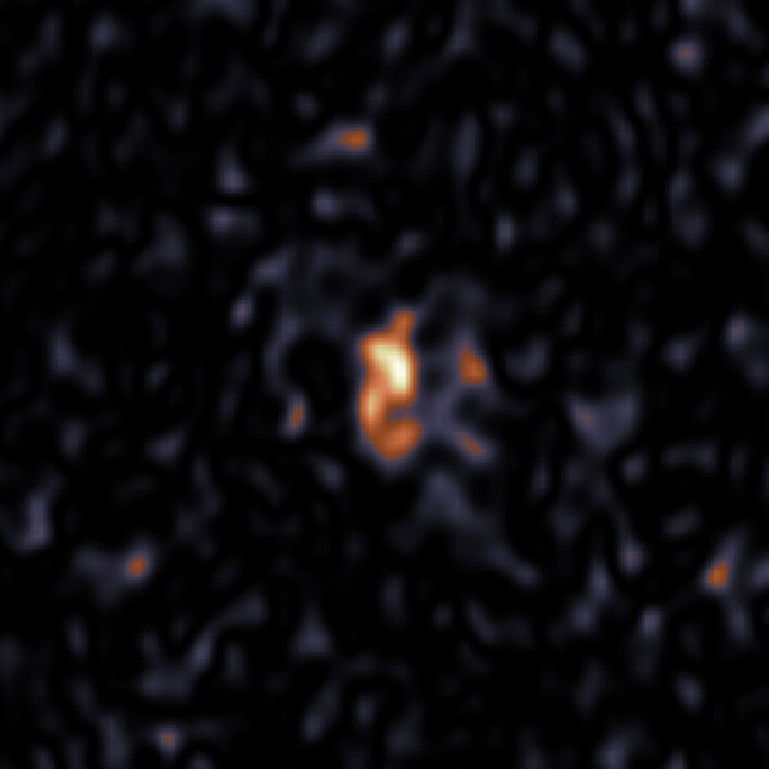 The dust in SN 1987A as seen with ALMA at 679 GHz.