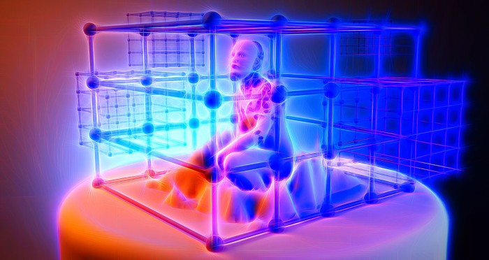 Artistic image of a human crouching in a cage