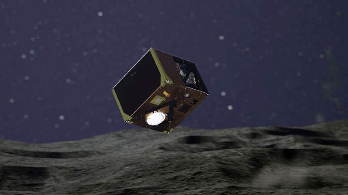 MASCOT's approach to Ryugu and its path across the surface.
