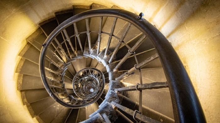 The interior staircase with 311 steps inside The Monument to the Great Fire of London.
