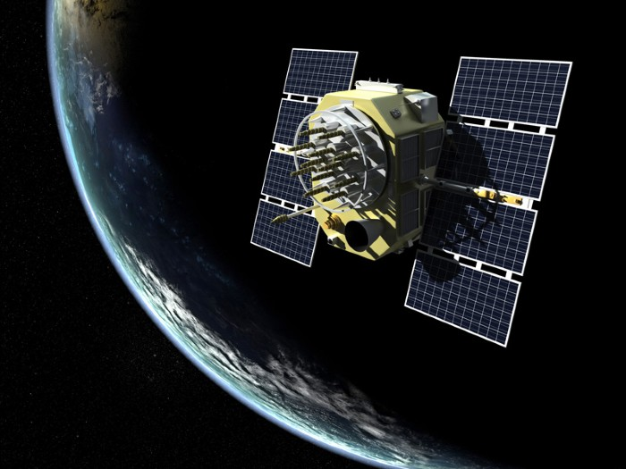 3D rendering of GPS satellite in orbit around Earth.
