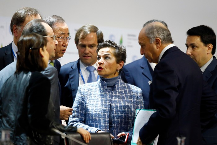 Francois Hollande, Ban Ki-moon and others listen to Christiana Figueres speak at the COP21 conference in Paris 2015