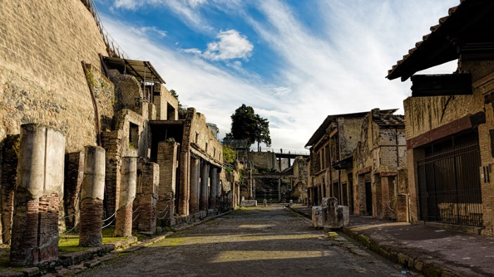 Partially excavated and restored ancient ruins of Herculaneum, Ercolano, Italy.
