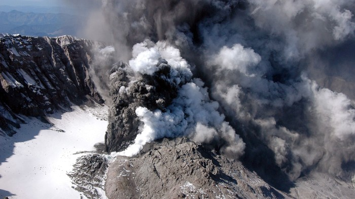 Smoke and ash is seen rising from the crater of Mount St Helens.