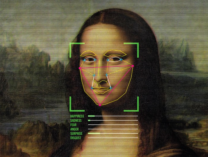Illustration of digital emotional analysis on the face of the Mona Lisa painting