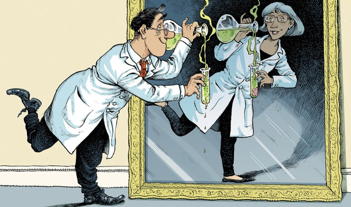Cartoon of a scientist pouring liquid into a leaking test tube while anther does the same experiment without the flaw.