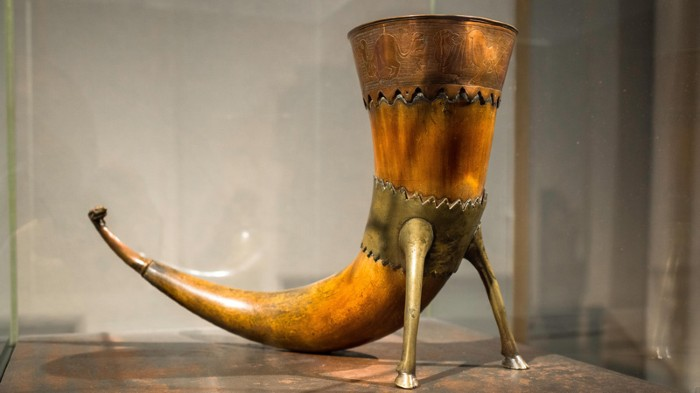A 9th century Viking drinking horn on display in the Historical Museum in Oslo, Norway.