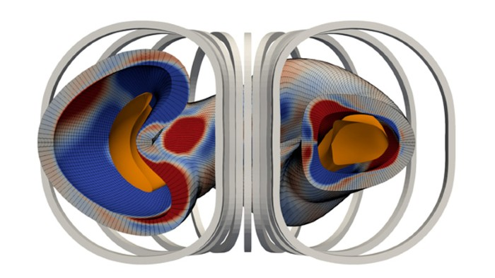 Numerical calculation of the distribution of permanent magnets needed to create a toroidal stellarator magnetic field.
