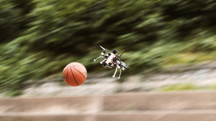 An autonomous quadrotor avoids a fast incoming obstacle using on-board event cameras.