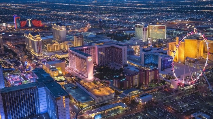 Aerial view of illuminated cityscape, Las Vegas, Nevada, United States.
