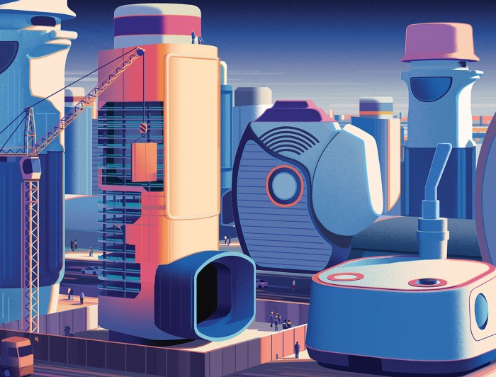 An illustrated landscape made up of devices for delivering inhaled medication