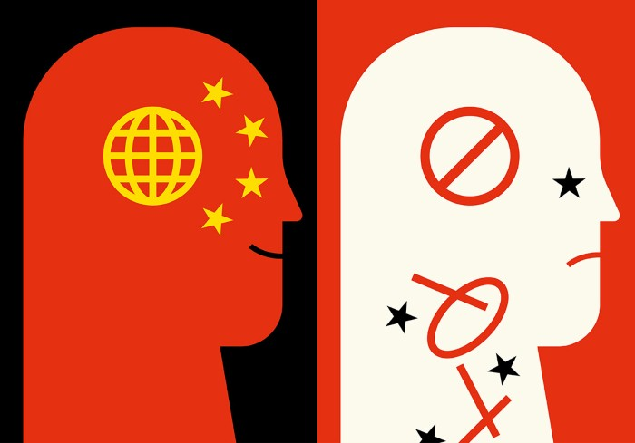 Cartoon showing a head with a globe and Chinese flag on the left and a head on the right where the globe is falling away