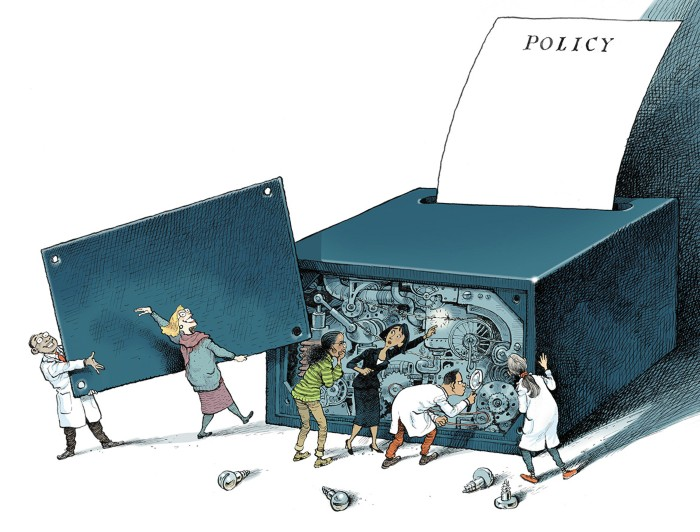 Cartoon of scientists and policymakers inspecting the inside of a black box that is outputting a policy document