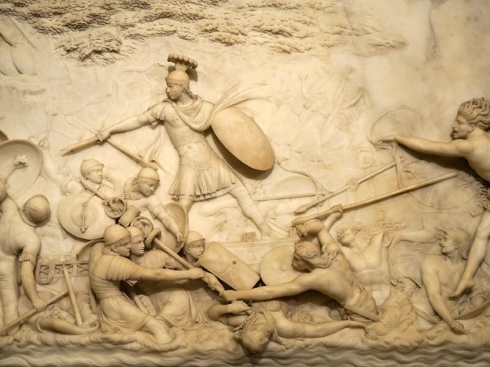 Marble relief depicting Julius Caesar invading Britain by John Deare (1759-1798) a British neo-classical sculptor.