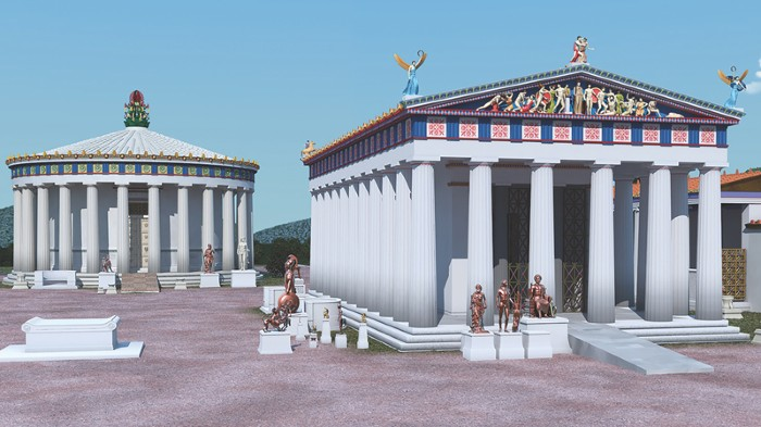 Reconstruction of the Temple of Asclepius and the Thymele at Epidaurus.