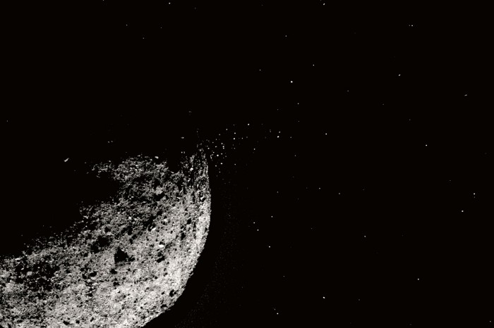 Asteroid Bennu with particle plumes