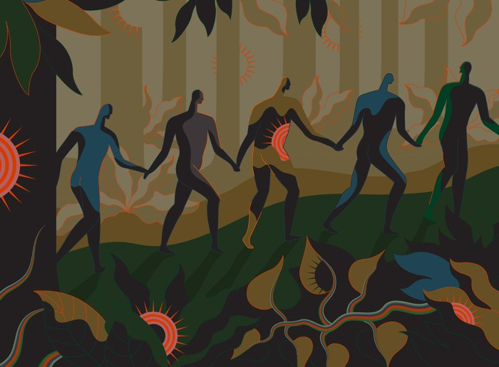 Illustration of a line of people walking through a jungle that is filled with Sars-CoV-2 virus.
