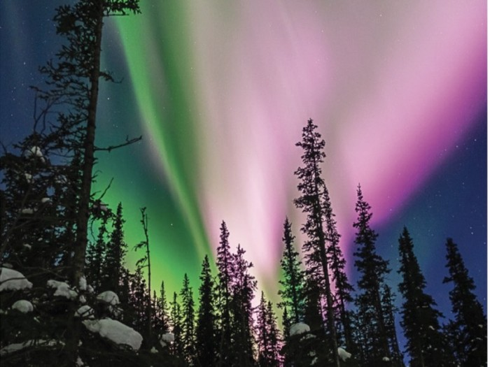 Photo of an aurora taken near Poker Flat, Alaska.