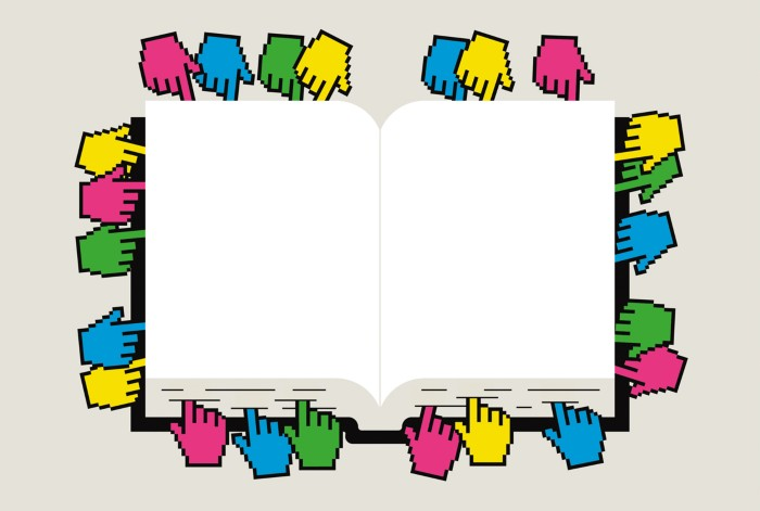 Conceptual illustration showing digital bookmarks placed in a book.