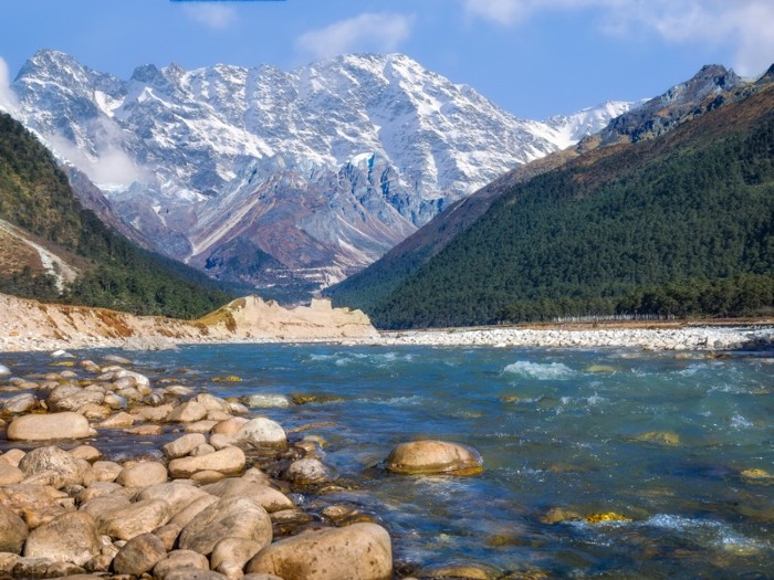 Scenic Yumthang valley with view of river Teesta and majestic Himalayan range.