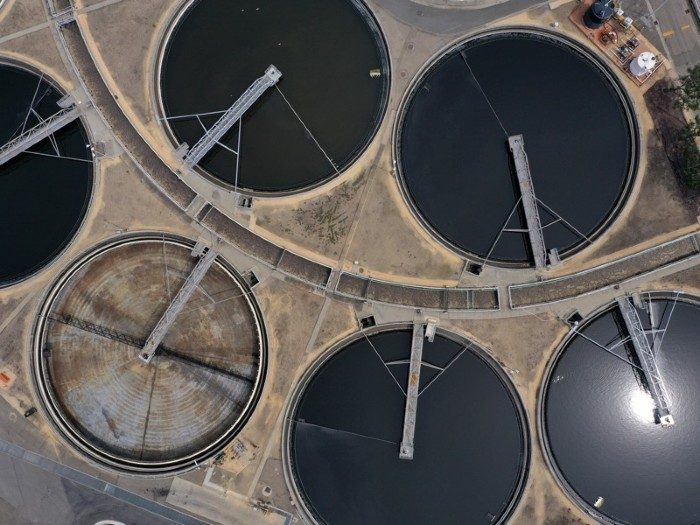 An aerial view of the East Bay Municipal Utility District Wastewater Treatment Plant on April 29, 2020 in Oakland, California.