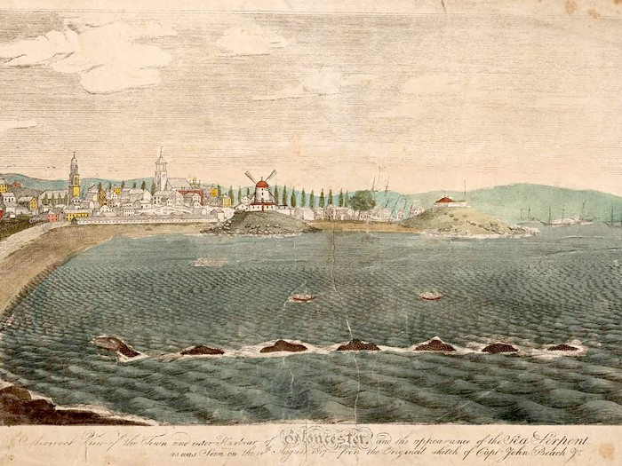 Painted panorama of Gloucester harbor and the sea serpent by John Ritto Penniman, from a drawing made by Captain John Beach.