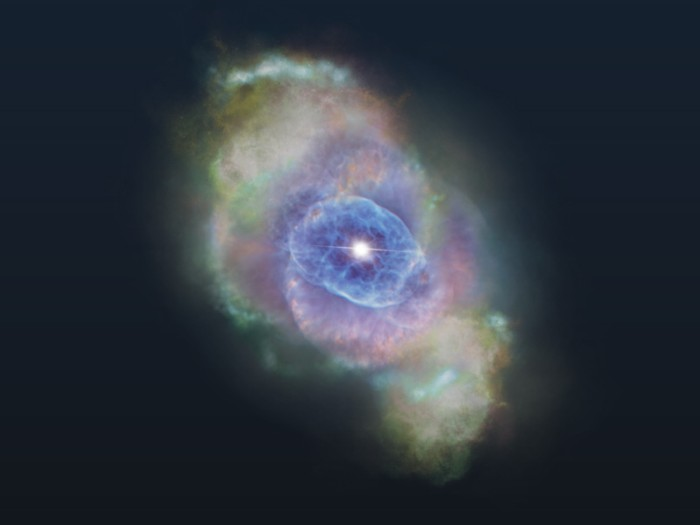 Star surrounded by colourful gas clouds — artist's impression.