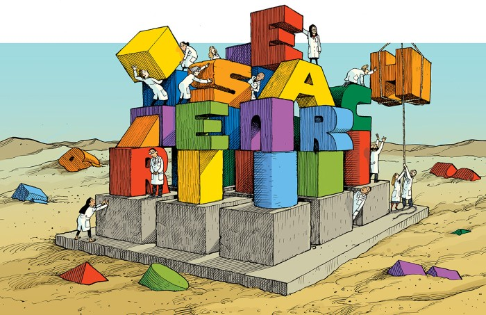 Cartoon of researchers building a tower of blocks that spell RESEARCH' on a foundation of 9 cubes in a sandy desert.