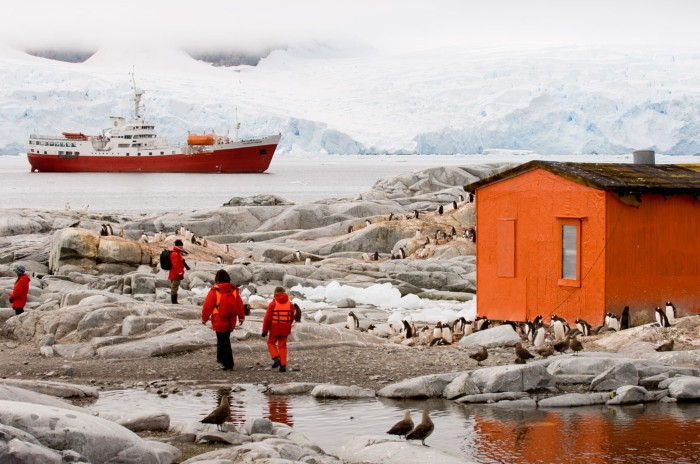 Tourists walk past a small building surrounded by penguins and gulls with a ship anchored off shore of the Antarctic Peninsula